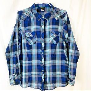 Torrid Blue Plaid Button Shirt, 2 front pockets
